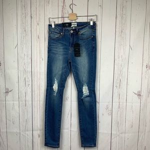Umgee High Waist Skinny Jeans Distressed Knee